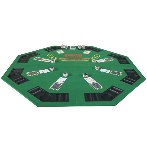 Folding Blackjack / Poker Table Top (48 Inch) Octagon Green by IDS Home