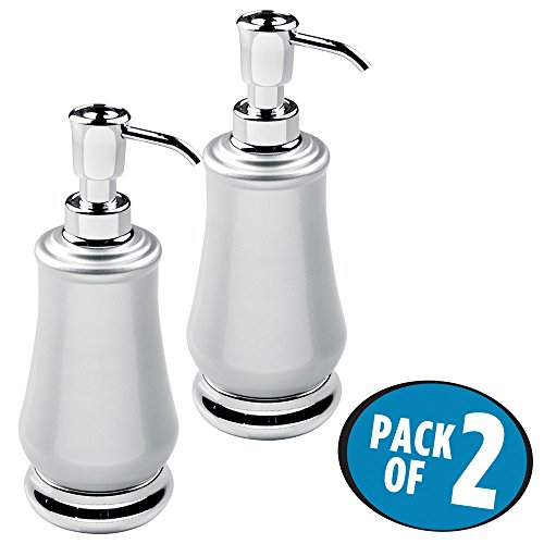 mDesign Liquid Hand Soap Dispenser Pump Bottle for Kitchen, Bathroom | Also Can be Used for Hand Lotion & Essential Oils - Pack of 2, Pearl Silver/Chrome