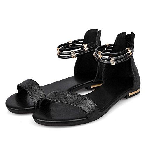 COOLCEPT Mujer Moda Correa de Tobillo Sandalias Punta Abierta Plano Zapatos con Cremallera Negro