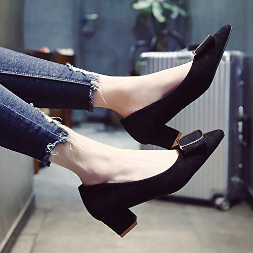 Autumn Female Single Fashion Heels High Tacón Thick Alto Buckle Women's With Mouth De Shallow Pointed Heel Shoes Black Zapatos Yukun Square qzO7wP8