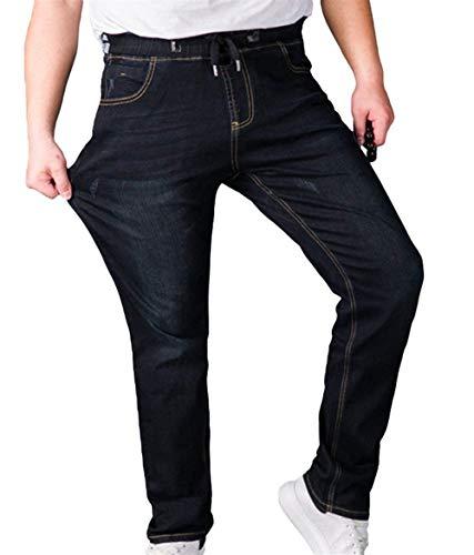 Especial In Estilo Pantaloni E Uomo 88 Long Dritta Gamba A Pants Vita Da Elastici Denim Jeans Stretch Casual Nero Vintage Bobo P4YIxvw