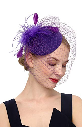 Fascinators Hats 20s 50s Hat Pillbox Hat Cocktail Tea Party Headwear with Veil for Girls and Women (B-Purple) -
