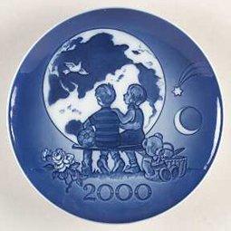 Royal Copenhagen Millennium Plate with Box - 2000 - Blue Flowers Creamer