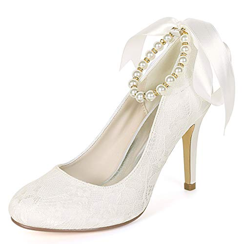 Chunky Tarde L Y 9cm Boda yc Redonda Ivory De La Fiesta Perla Mujeres Punta Fy562 Zapatos Las Gatito talones wzwx7