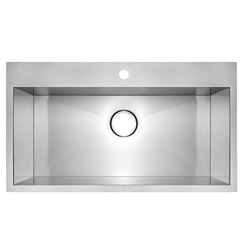 Golden vantage 32 x 18 x 9 handmade top mount single for Best quality stainless steel kitchen sinks