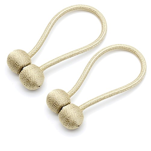 (MONEIL Set of 2 Classic Strong Magnetic Curtain Rope Tiebacks Clips Holders European Style for Home Office Decorative Drapes Holdback,Eco-Friendly Durable Fiber Material (Earphone Style-Beige White))