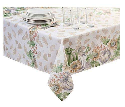 Harvest Cottage Tablecloth Fall Sunflowers Pumpkins Easy-Care Fabric (60 x 84 Rectangle/Oblong)