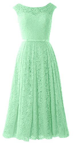 Party MACloth Tea Sleeve Cocktail Formal Wedding Gown Caps Length Lace Mint Dress 8rS8qw
