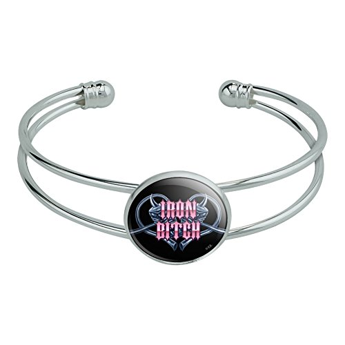 GRAPHICS & MORE Iron Bitch Biker Motorcycle Heart Piston Pipes Novelty Silver Plated Metal Cuff Bangle Bracelet -