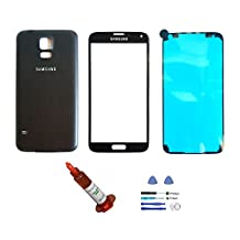 (md0410) Black Front Outer Lens Glass Screen + Back Battery Door Cover Replacement For Samsung Galaxy S5 i9600 G900 + Adhesive + Tools + 5ml UV LOCA Liquid Glue