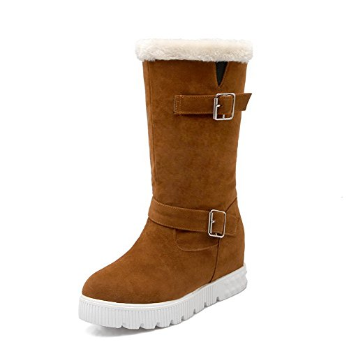 Allhqfashion Women's Kitten-Heels Frosted Mid-Top Solid Pull-On Boots Brown
