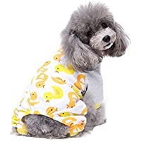 Pet Puppy Apparel,FUNIC Cotton Pajamas Teddy Dog Soft Homewear (M, Yellow)