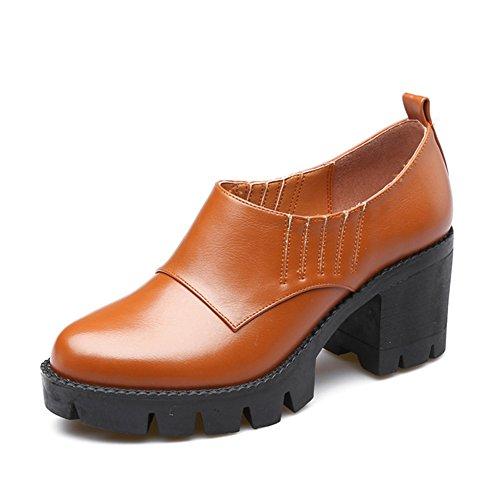 Redondo retro gruesa con los zapatos de tacón alto de los sistemas impermeables del pie/Suela gruesa zapatos ocasionales A