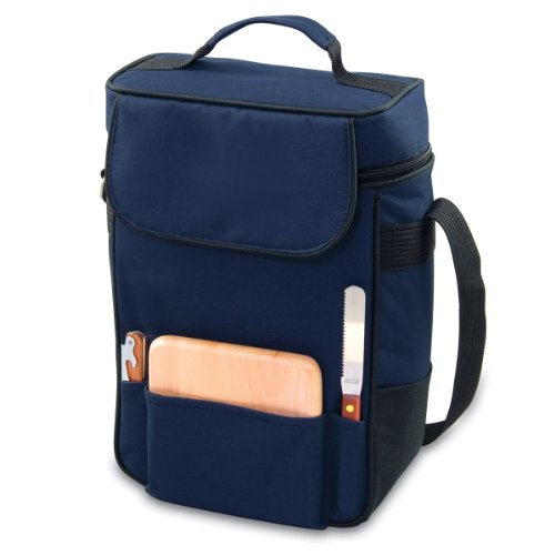 Picnic Time Duet Insulated Wine and Cheese Tote, Navy Blue (Tote Duet)