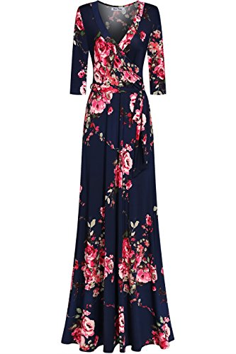 (Bon Rosy Women's Silky and Stretchy 3/4 Sleeve Deep V-Neck Peony Printed Maxi Faux Wrap Dress Navy Pink L(DJ51504-STF))