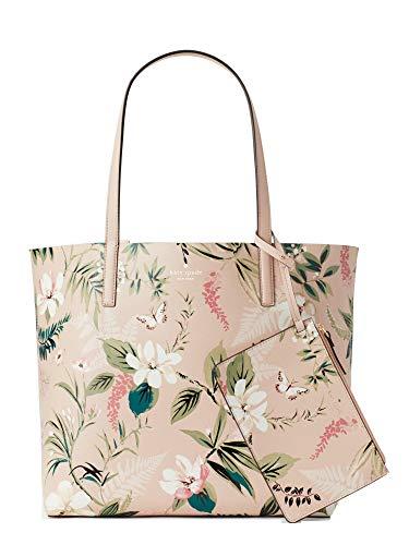 (Kate Spade Women's Pink Arch Place Mya Botanical Reversible Handbag Leather Bag)