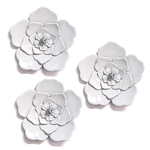 Stratton Home Decor White Metal Wall Flowers (Set of 3) (Flowers Wall Metal For)