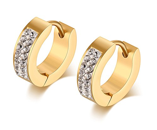 14k Gold Rope Hoop Earrings - Mens Womens Stainless Steel CZ Cubic Zirconia Accent Huggie Small Hoop Earrings,18K Gold Plated