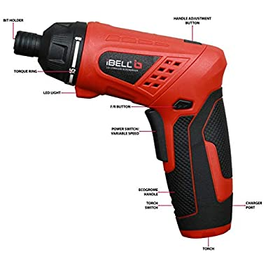 iBELL MS06-16 Cordless Rechargeable Electric Screwdriver 3.6V, 1500mAh Lithium Ion Battery MAX Torque 3.5Nm, 2 Flexible Position and 16 Torque Setting, Front LED and Rear Flashlight- 6 Months Warranty 8