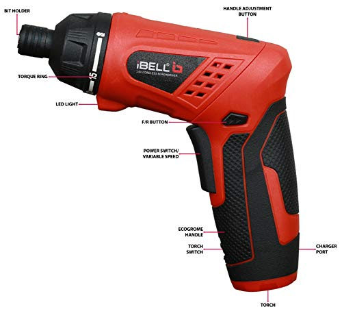 iBELL MS06-16 Cordless Rechargeable Electric Screwdriver 3.6V, 1500mAh Lithium Ion Battery MAX Torque 3.5Nm, 2 Flexible Position and 16 Torque Setting, Front LED and Rear Flashlight- 6 Months Warranty 3