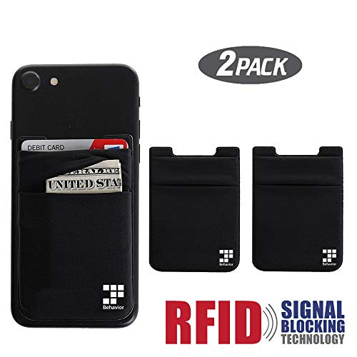 [2pc] Phone Card Wallet - Ultra-slim Self Adhesive Double Secure RFID-Blocking Phone Pocket,Credit Card Holder Sleeves Phone wallet sticker For All Smartphones (Black) ()