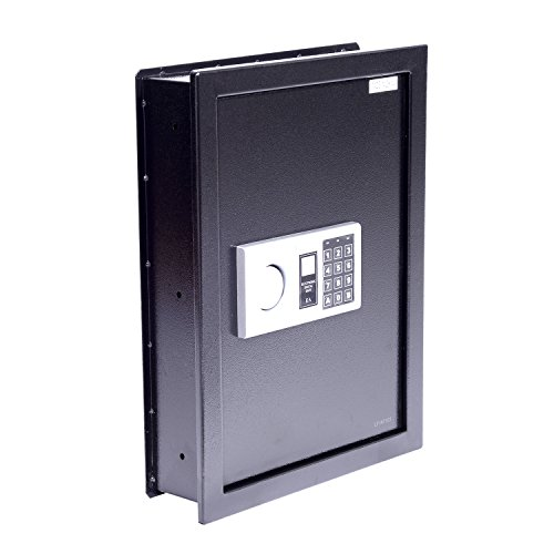 Tenive 0.4 Cubic Feet Electronic Digital Steel Security Safe Wall Mounted Box for Gun Jewelry Crash (Black)