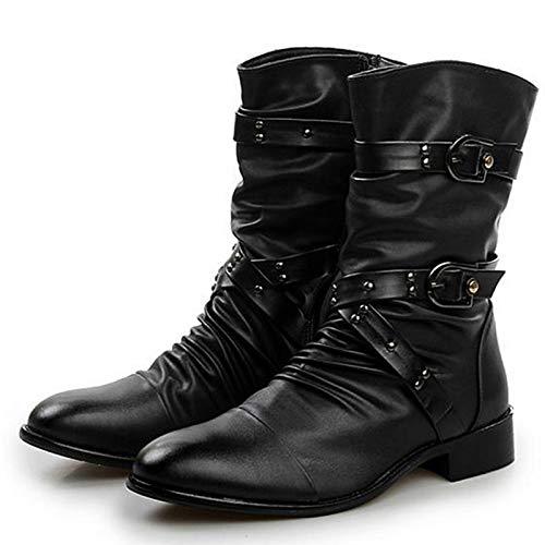 Versione Coreana Stivali Alti Stivali di Pelle Inghilterra Stivali Militari A Punta Stivali da Uomo Black6cm