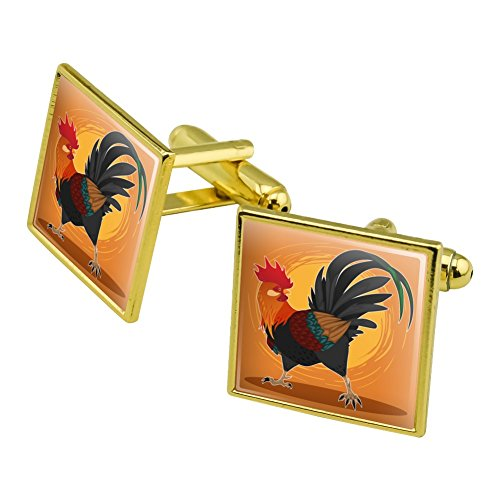 Graphics and More Rooster of Awesomeness Chicken Square Cufflink Set Gold Color