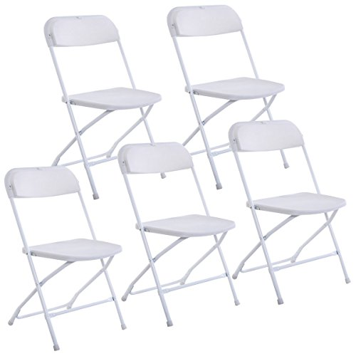 Giantex Set of 5 Plastic Folding Chairs Wedding Party Event Chair Commercial (White Style 2)