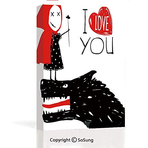 Modern Salon Theme Mural Little Red Riding Hood Loves Bad Horrible Wolf Plot Twist Fairytale Art Painting Canvas Wall Art for Home Decor 24x36inches,Red Black -