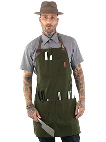 (Under NY Sky Knife-Roll Forest Green Apron - Heavy-Duty Canvas, Leather Reinforcement - Adjustable for Men and Women - Pro Chef, Barbecue, Butcher, Bartender, Woodworker, Tool Aprons )