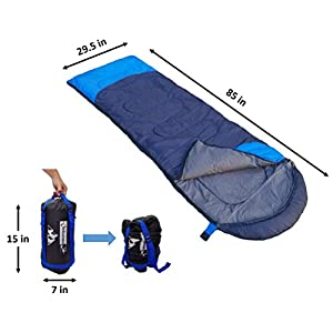 Sleeping Bag (47F/38F) Lightweight For Camping, Backpacking, Travel by OutdoorsmanLab- Kids Men Women 3-4 Season Ultralight Compact Packable bag with Compression Sack