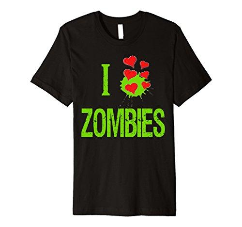 Mens Halloween Custom T-Shirt I Love Zombies Heart Shirt 2XL Black