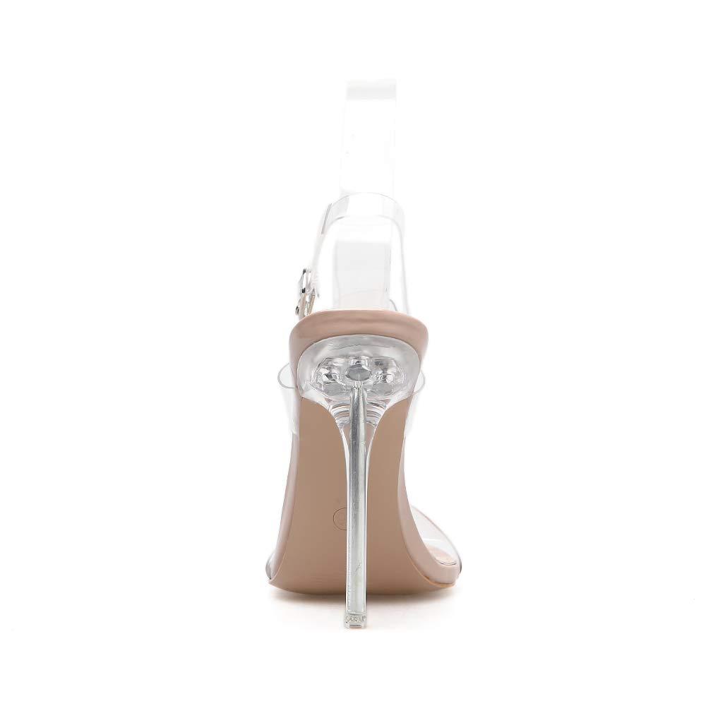 FengJingYuan Sandali da Donna - Stiletto a Punta Aperta Aperta Aperta Trasparente con Tacco Alto, 1,38 e32f85