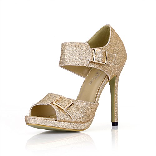 Sandalias Con Zapatos Alto Pescado Pale Mujer Nuevos Punta Temperamento Golden Gold Bodas De El Verano Sands Productos Femeninos Talón Noche fvrfw7