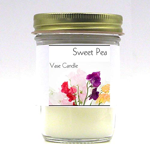Sweet Pea Jar | Vase Candle | 50 Hour Burn Time | Premium Soy Paraffin Wax Blend | Highly Scented | Self-Trimming Wick | Fresh Poured ()