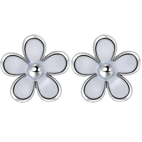 Daisy Flower Stud Earrings - Solid 925 Sterling Silver