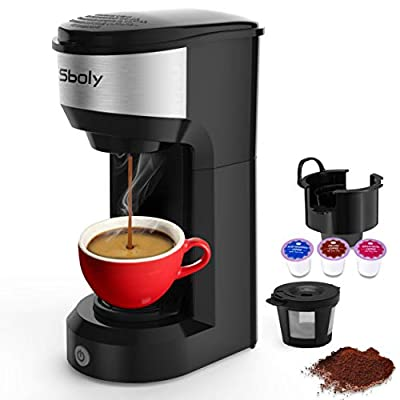 Upgrade Mini Single Serve Coffee Maker for K Cup Pods and Ground Coffee by Sboly, 90s Quick Brewing Technology, K Cup Brewer Small Coffee Machine for Travel, Black from Dengxiong