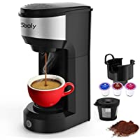 Sboly Upgrade Mini Single Serve Coffee Maker for K Cup Pods and Ground Coffee