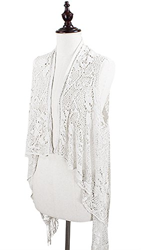 StylesILove Flower Crochet Lace Fringed Women#039s Fashion Vest  White