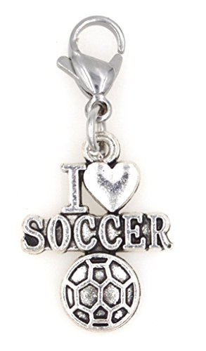 It's All About...You! I Love Soccer Sports Clip on Charm Perfect for Necklaces Bracelets ()