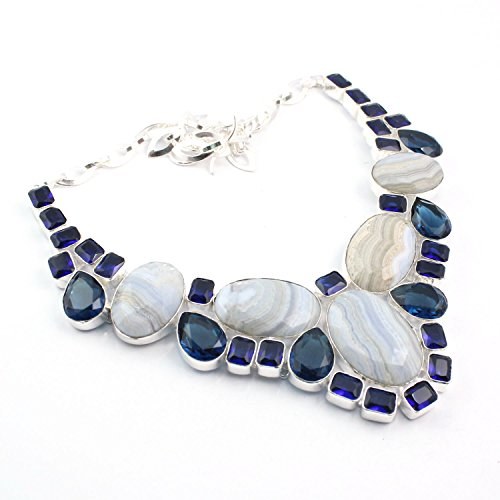 Silver-Hub Blue Lace Agate Tanzanite Designer Bezel Necklace 925 Sterling Silver Plated 18