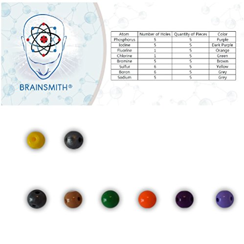 Atom Add-On Set for Brainsmith Molecular Model Kit - Phosphorus, Iodine, Fluorine, Chlorine, Bromine, Sulfur, Boron & Sodium Atoms - 40 Piece Atom Set