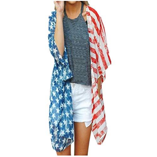 - Women American Flag Print Blouse Loose Long Sleeve Cardigan Coat XL