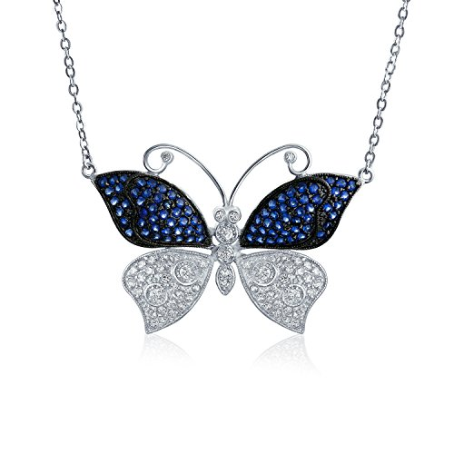 Blue Spinel White CZ Butterfly Necklace Rhodium ()