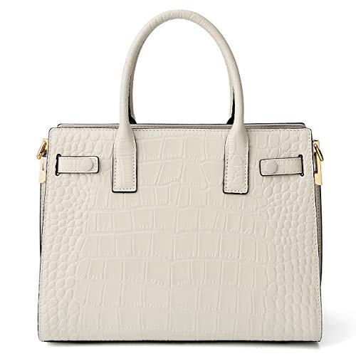 Women Genuine Leather Handbags Embossed-Crocodile Cowhide Top-handle Bags Shoulder Bags