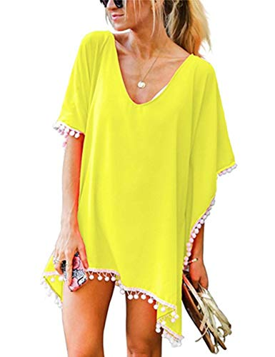 LOMON Swim Coverup Women Pompom Chiffon Cool Beach Kaftan Dress Summer (Solid Yellow)