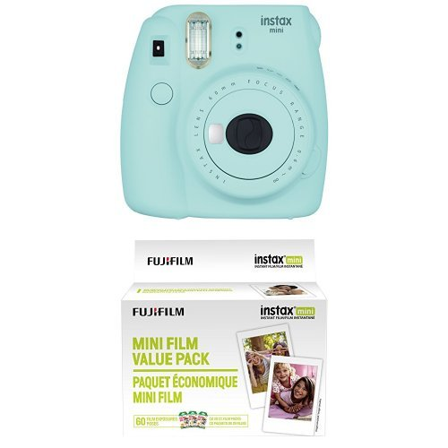 Fujifilm Instax Mini 9 Instant Camera – Ice Blue with Value Pack – 60 Images