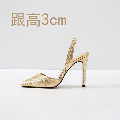 Sandalias Verano Vivioo Alto 3cm Baotou De Tacón Gold zRwAqzr