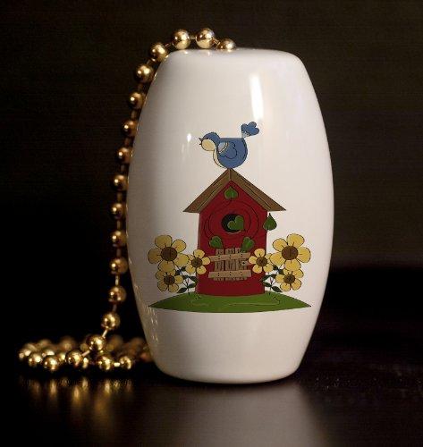 Bluebird Birdhouse Porcelain Fan / Light